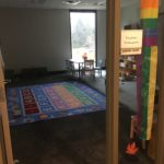 The Juniper Room is our Pre-K grade religious education classroom and can seat 10-15. It contains a smart tv and sink, as well as an en-suite bathroom with a child-sized toilet.