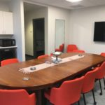 Our Conference Room seats 15 comfortably for meetings or presentations. An extra-large smart tv, wetbar with mini-fridge, sink, and microwave, and en-suite bathroom make it ideal for business meetings and presentations. The Conference Room doubles as a Bride's Room for weddings.