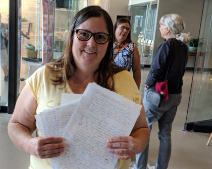 Former UUS member Danielle Jones hand delivers advocacy letters to Capitol Hill