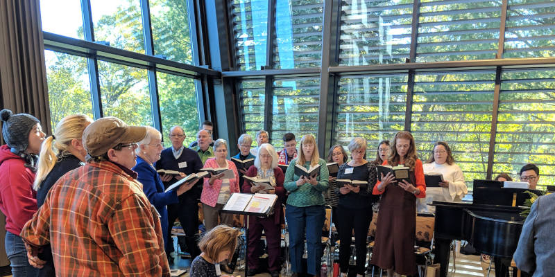 Unitarian Universalist Society choir performs during Sunday service