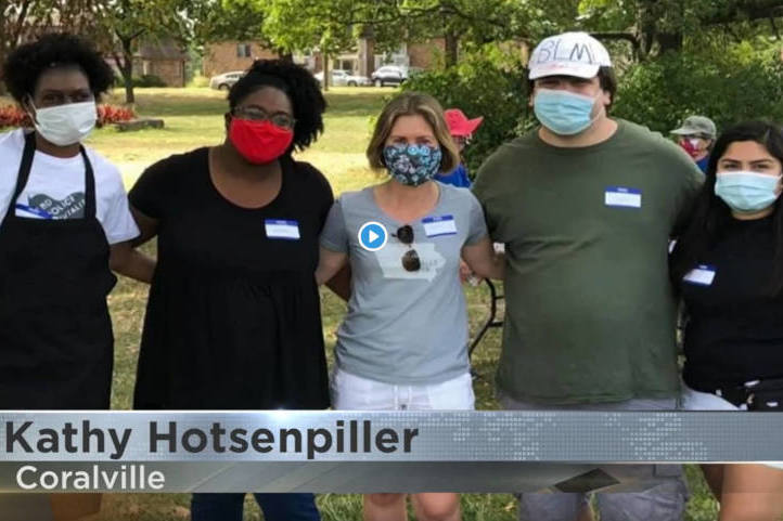 Kathy Hotsenpiller and other Coralville anti-racism activists